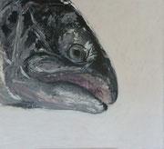 Maria Vogl, Fisch schwarz/weiß, 113x103, Acryl auf Leinwand