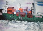 Containerschiff im Hamburger Hafen, 2008, 60 x 80, Ölspachtel