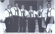 Die erste Mannschaft nach der Neugründung im Jahre 1951 K.Wieting, J.Russelmann, G.Otte, G.Stiller, A.Einemann, H.Berger