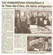 """- Article pour l'expo à la Tour-Du-Crieu les 8 &9 mai 2010 : """"Les maquettiste triomphent à la Tour-Du-Crieu en terre ariégeoise"""""""