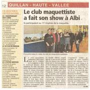 """- Article pour la seconde expo d'Albi les 26 & 27 novembre 2011 : """"Le club maquettiste fait son show à Albi"""""""