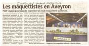 - Article pour l'expo d'Onet-le-Château les 26 & 27 fevrier 2011,  dans l'indépendant le vendredi 11 mars 2011