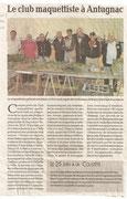 """- Article pour la seconde expo d'Antugnac les 4 & 5 juin 2011 : """"Le club maquesttiste à Antugnac"""""""