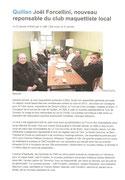 """- Premier article pour l'assemblée générale du club : """"Joël Forcellini, nouveau responsable du club maquettiste local"""""""