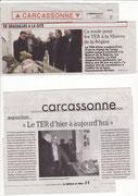 - Articles pour le vernissage de la gare d'Alet à la Maison de la Région à Carcassonne dans l'Indépendant du 11/02/14 et la Dépêche du Midi du 10/02/14.