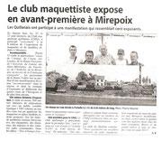 """- Article pour l'expo de Mirepoix les 22 & 23 août 2009 : """"Le club maquettiste expose en avant-première à Mirepoix"""""""