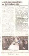 """- Article pour l'assemblée générale du club le Samedi 8 Janvier 2011 : """"Le club maquettiste sur de très bons rails"""""""