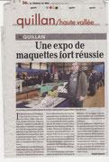 """- Article sur l'expo de Quillan les 22 & 23 / 02 / 2014 dans la dépêche du Midi le 26/02/2014 : """"Une expo de maquettes fort réussie"""""""