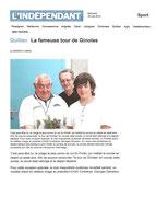 """- Article pour la tour de Ginoles lors de la course du col du Portel,  dans l'indépendant le 29/05/2012 : """"Quillan : La fameuse tour de Ginoles"""""""