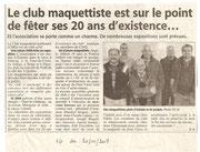 """- Article pour """"l'assemblée générale"""" du club le 20/12/2009 : """"Le club maquettiste est sur le point de fêter ses 20 ans d'existence ..."""""""