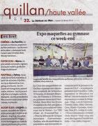 """- Article sur l'expo de Quillan les 22 & 23 / 02 / 2014 dans la dépêche du Midi le 22/02/2014 : """"Le salon de la maquette fait un carton .."""""""