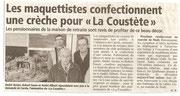 """- Article pour la fabrication de la crèche en décembre 2010 à Quillan : """"Les maquettistes confectionnent une crèche pour """"La Coustète"""""""