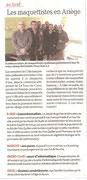 """- Second article pour l'expo de la Tour-du-Crieu dans La Dépêche le Samedi 8 Mai : """"Les maquettiste en Ariège"""""""