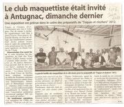 """- Article pour l'expo d'Antugnac les 5 & 6 juin 2010,  dans l'indépendant le 14 juin 2010 : """"Le club maquettiste était invité à Antugnac dimanche dernier"""""""
