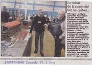 """- Article sur l'expo de Quillan les 22 & 23 / 02 / 2014 dans l'Indépendant le dimanche 23/02/2014 : """"Le salon de la maquette fait un carton .."""""""