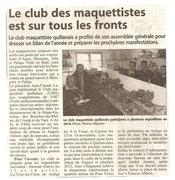 """- Article en janvier 2010 : """"Le club maquettiste est sur tous les fronts"""""""