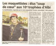 """- Article pour l'expo d'Albi les 14 &15 novembre 2009 : """"Les maquettistes : élus """"coup de coeur"""" aux 10es trophées d'Albi"""""""