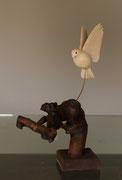 oiseau en bois sculpté:Mésange charbonniére