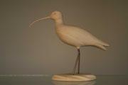 Sculpture d'oiseau en bois: Courlis corlieu en tilleul