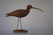 Sculpture d'oiseau en bois: Courlis cendré en Sapin du nord