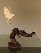 oiseau en bois sculpté:Mesange charbonniere
