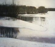 Winterwandeling #1, 2012 /Acryl verf, pigment, houdskool op linnen doek /84x100cm