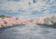 《春の群れ》  A4/4月16日制作/¥15,000(税込)