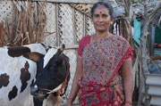 One of our SHG women with the cow she got through the Income Generation Programm by receiving a low-intrest loan.