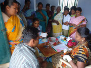 Those women and children took part in a Blood Group Identification Camp.