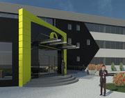 Koncepcja łącznika budynków biurowych MEDIA MARKT w Złotowie