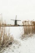 Landschapsfotografie in Kinderdijk met door sneeuw bedekte molens.