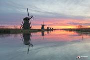 Landschapsfotografie: Landschap molens te Kinderdijk; koud en warm.