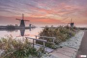 Landschapsfotografie: winters landschap in Kinderdijk bij de Kinderdijkse molens.