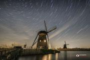 Nachtfotografie van Unesco Werelderfgoed Kinderdijk.