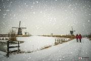 Vallende sneeuw in het witte landschap bij de Kinderdijkse molens.