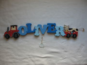 Traktor - NAME - Anhänger mit gefleckter Kuh