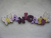 Schmetterling offen - Name - Blume + Schmetterling seitlicjh