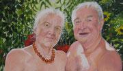 Eva und Adam   (Ausschnitt)  60 x 60 cm  Acryl auf Leinwand