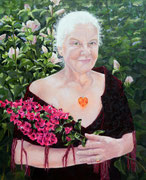 Frau mit Bouginvillea   60 x 50 cm   Acry. auf Leinwand   Privatbesitz