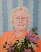 Frau mit Flieder   50 x 40 cm   Acryl auf Leinwand   verkauft