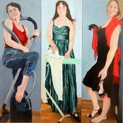 Die glückliche Hausfrau   je 150 x 50 cm  Acryl auf Leinwand