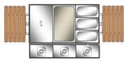Grill als Servierwagen bzw. Warmhaltedepot mit ansteckbaren Seitenablagen