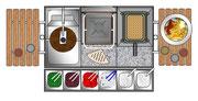 Gyros-/Dönerspiess mit Kontaktgrillplatte und 8 Literfritteuse