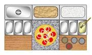 Pizzatisch mit Teig und Zutatengefäßen