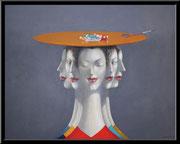 Kunst von Dimitri Vojnov - Die fünf Musen 100 x 80 cm 1900 €