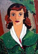 Margrit Schweicher; Porträt: Bildnis von Fräulein E.H.; Öl auf Hartfaser