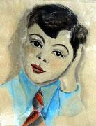 Margrit Schweicher: Portrait: Matthias L.; Aquarell auf Zeichenpapier, ca. 1947