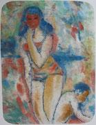 """Margrit Schweicher: """"Am Strand""""; Aquarell, ca. 1948"""
