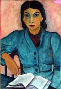 """Margrit Schweicher; Porträt """"Dame mit Buch""""; 1949; Öl auf Leinwand; Signatur """"Grete Lauer"""""""