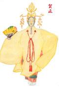 hagoromo 羽衣 能の演目で天女が水浴びをしている時に、大事な羽衣を失くして天上界へ帰れないという物語。年賀状に出力しました。